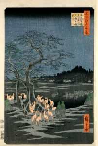 New Year's Eve Foxfires at the Changing Tree, Ōji by Hiroshige